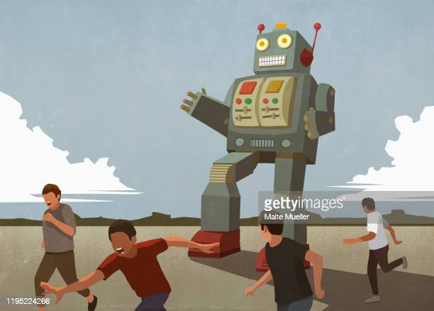 large robot chasing boys - robot stock illustrations