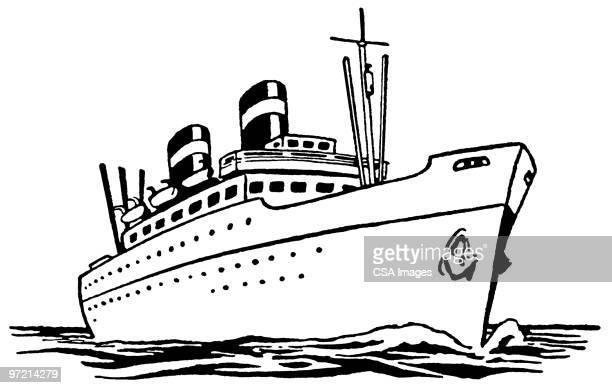 large ship - nautical vessel stock illustrations