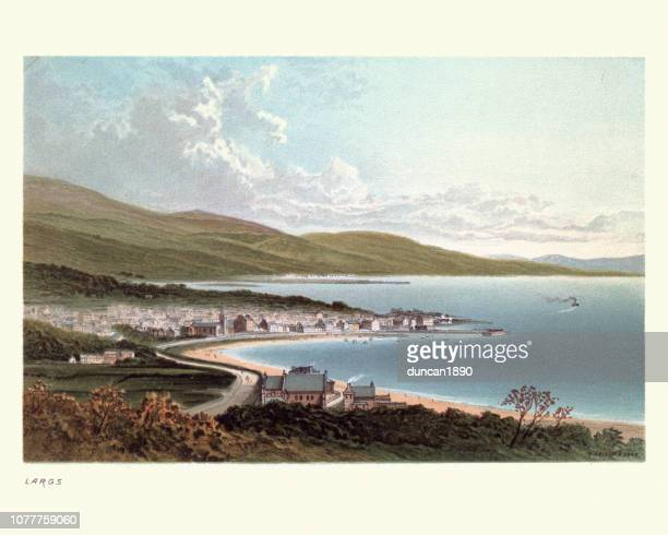 largs, scotland, 19th century - clyde river stock illustrations, clip art, cartoons, & icons