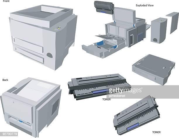 Laser Printer Illustration  (Vector)