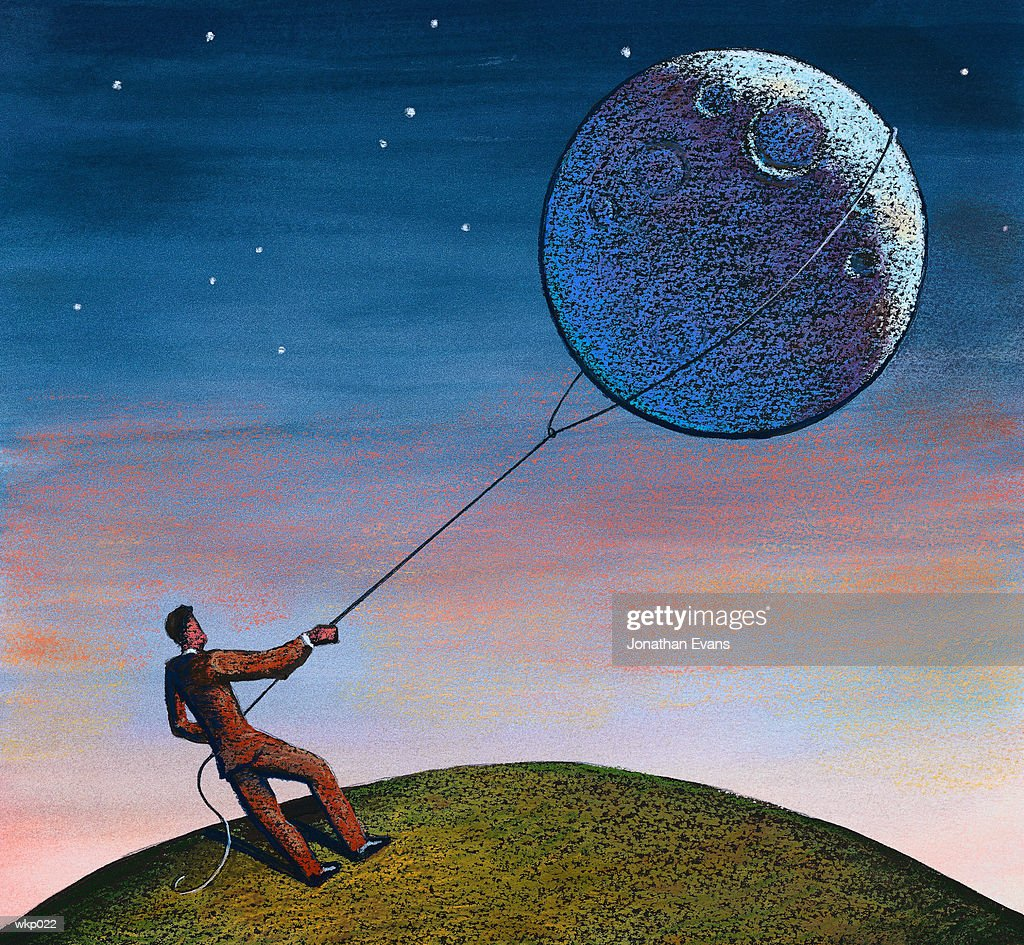 Lassoing the Moon : Ilustración de stock