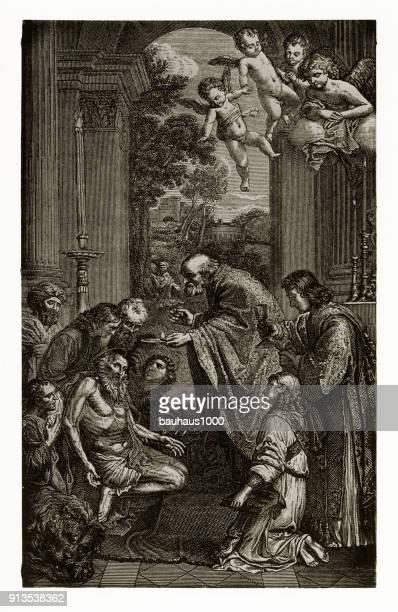 Laatste communie van Hiëronymus Christian gravure