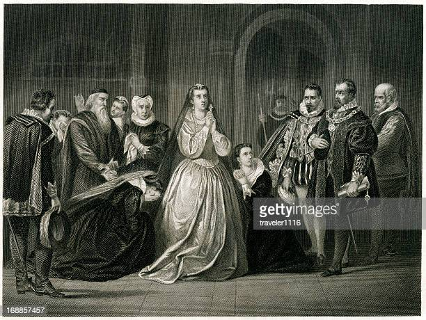 last moments for mary queen of scots - queen royal person stock illustrations, clip art, cartoons, & icons