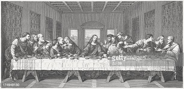 last supper, by leonardo da vinci, wood engraving, published 1873 - last supper stock illustrations