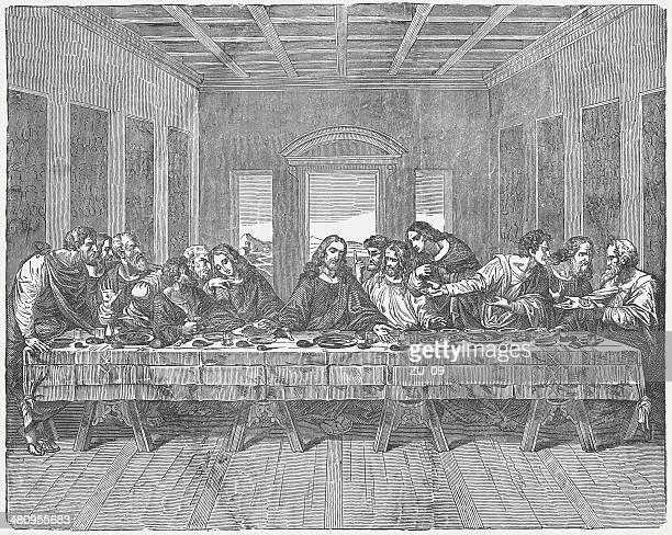 ilustraciones, imágenes clip art, dibujos animados e iconos de stock de la última cena, por leonardo da vinci, publicación 1880 - leonardo da vinci