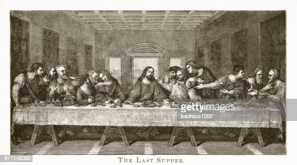 ilustraciones, imágenes clip art, dibujos animados e iconos de stock de grabado de la última cena - personas leyendo la biblia