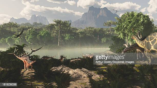 Late Jurassic East Africa with a host of different animals and plants. Visible dinosaurs are Kentrosaurus, Dicraeosaurus, and Rhamphorhynchus. Plant species are Paran pines, cycads, arucanthis, etc.