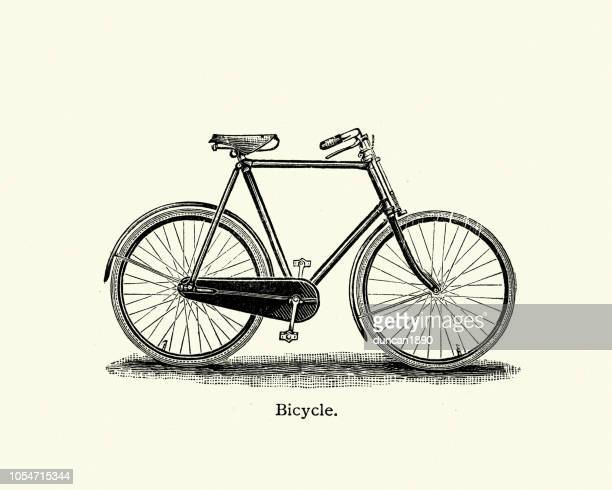 late victorian bicycle 19th century - archival stock illustrations