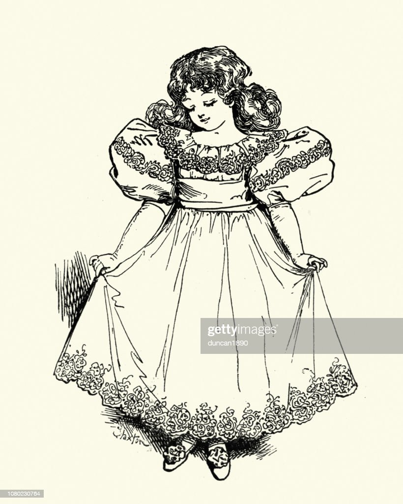 one girl only stock illustrations and cartoons 1890 S Fashion Hats late victorian childrens fashions girls dress 1890s 19th century