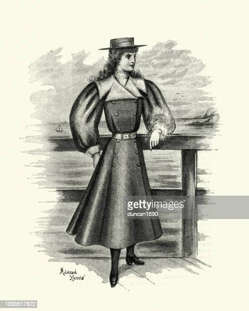 late victorian fashions, teenage girl outdoor wear, 1890s - frock coat stock illustrations