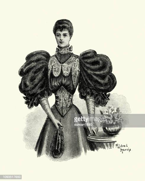 late victorian womens fashions, blouse with puffed sleeves, 1890s - evening gown stock illustrations