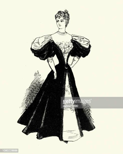 late victorian womens fashions, evening dress, 1890s, 19th century - evening gown stock illustrations