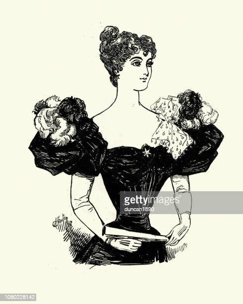 Late Victorian womens fashions, Evening Dress puffed shoulders, 1890s