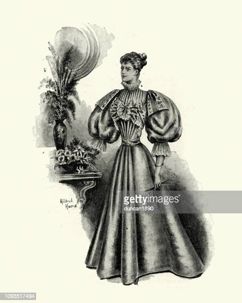late victorian womens fashions, house dress, 1890s - evening gown stock illustrations