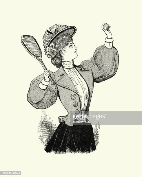 late victorian women's fashions, tennis outfit, 1890s - tennis player stock illustrations