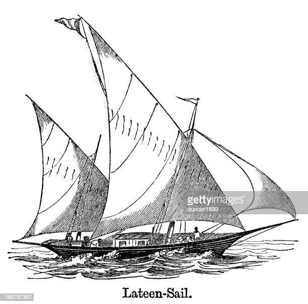 illustrations, cliparts, dessins animés et icônes de voile latine nautique - voilier noir et blanc