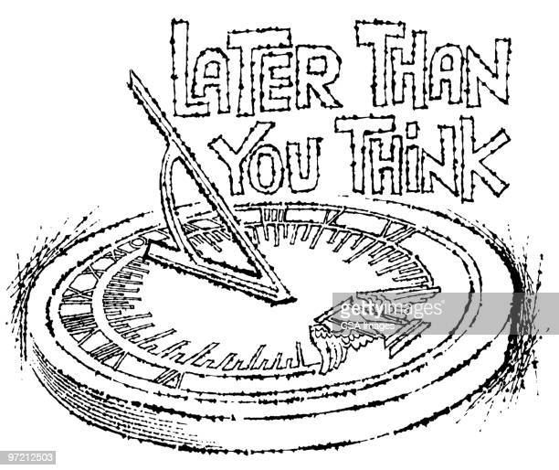 later thank you think - minute hand stock illustrations