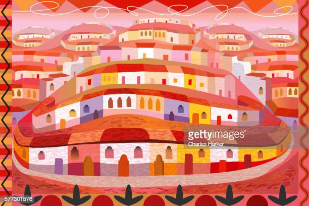 Latin American Houses on Hill in Folk Style Illustration with Decorative Border