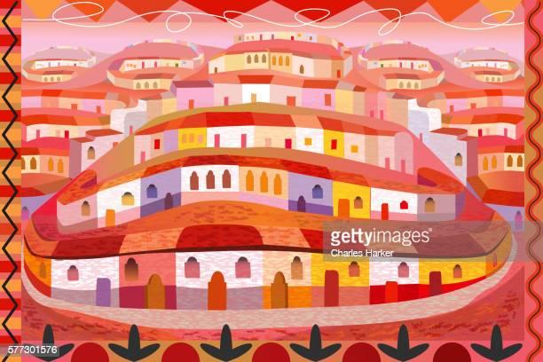 illustrations, cliparts, dessins animés et icônes de latin american houses on hill in folk style illustration with decorative border - village
