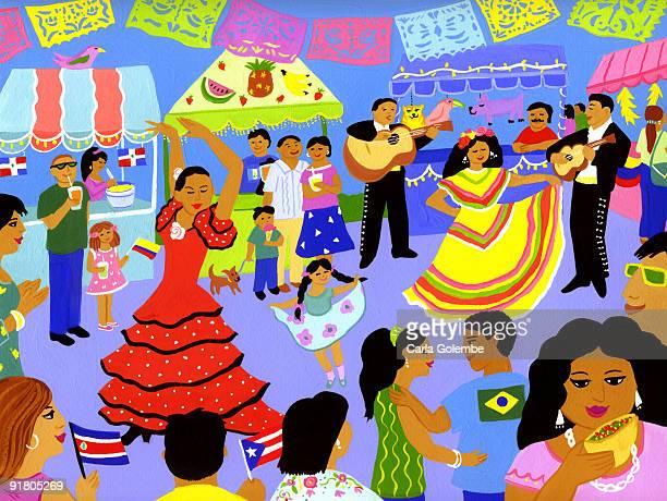 ilustraciones, imágenes clip art, dibujos animados e iconos de stock de a latin american street festival - latin american dancing