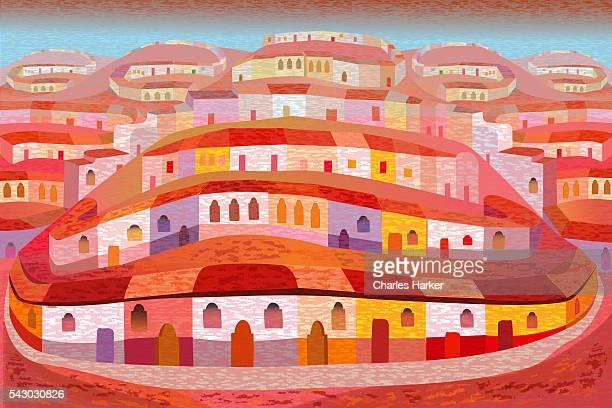 Latin American Town on Hills in Folk Style Illustration