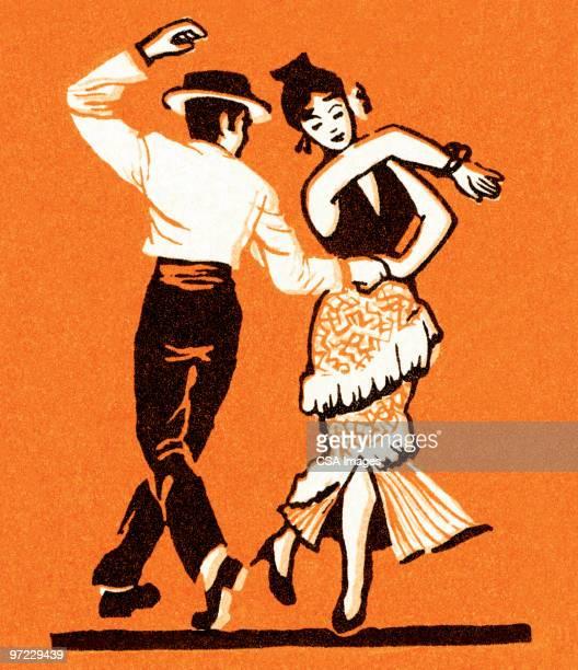 latin dance - spanish dancer stock illustrations, clip art, cartoons, & icons