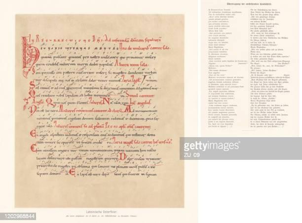 latin easter celebration, antiphonary (12th century), facsimile (chromolithograph), published 1897 - manuscript stock illustrations