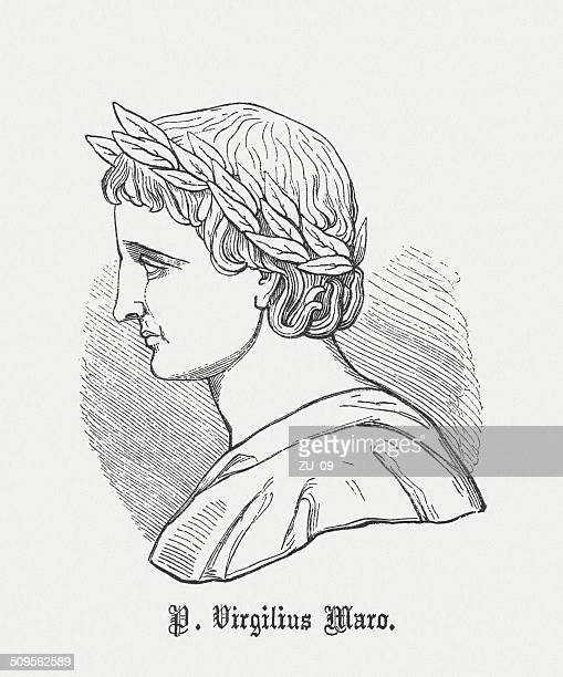 Latin poet Vergil (70 BC-19 BC), wood engraving, published 1864