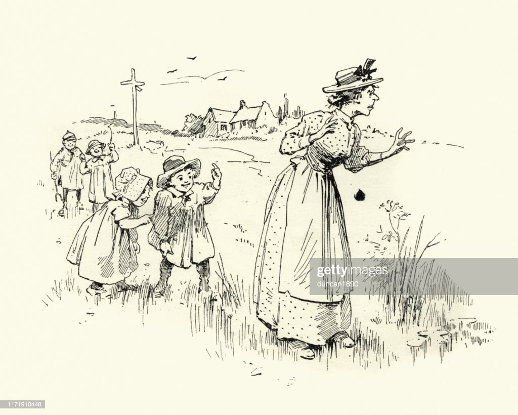 Laughing behind nanny's back, Victorian children, 19th Century : stock illustration