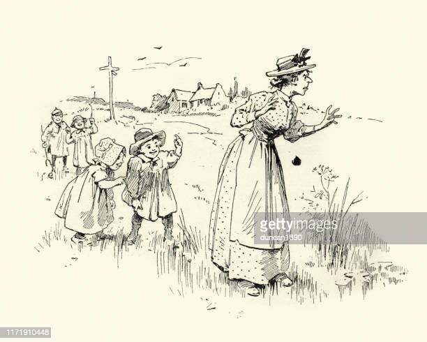 laughing behind nanny's back, victorian children, 19th century - sneering stock illustrations, clip art, cartoons, & icons
