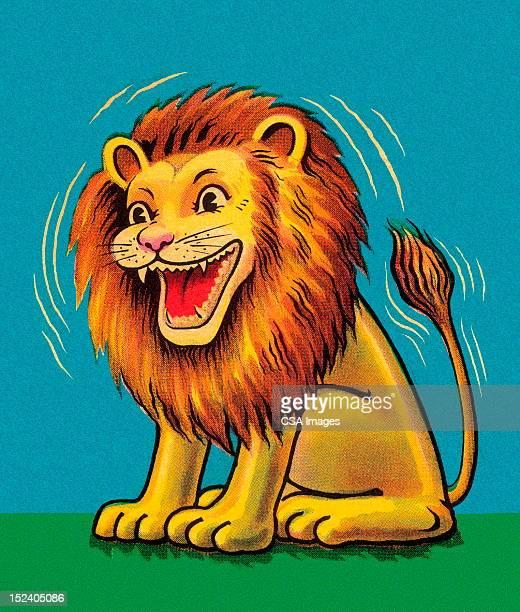 ilustrações, clipart, desenhos animados e ícones de rindo leão - animal mane