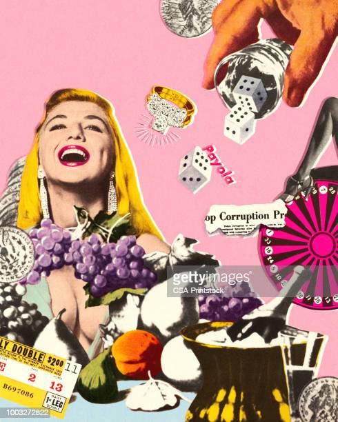 stockillustraties, clipart, cartoons en iconen met lachende vrouw in las vegas - verslaving