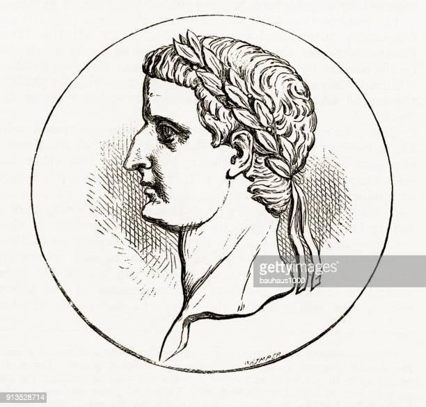 Laureated hoofd van Tiberius christelijke symboliek gravure