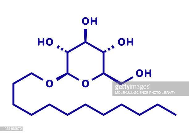 lauryl glucoside non-ionic surfactant molecule, illustration - chemistry stock illustrations