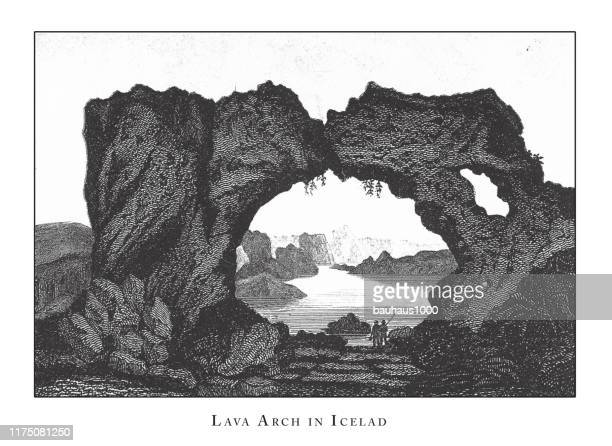 lava arch in iceland, caves, icebergs, lava and rock formations engraving antique illustration, published 1851 - isle of staffa stock illustrations, clip art, cartoons, & icons