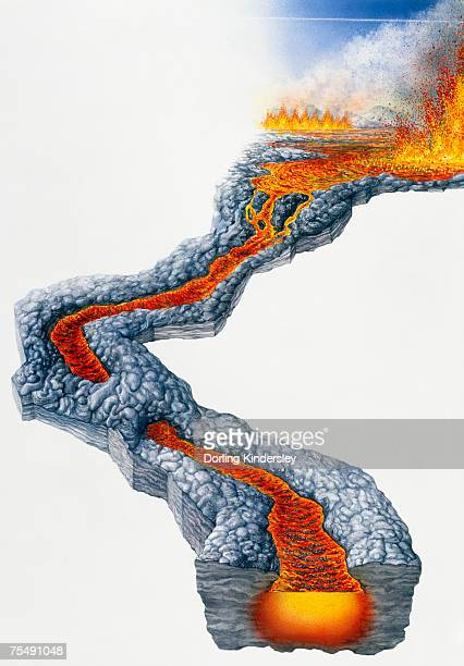 lava flow, molten rock expelled by volcano during effusive eruption - molten stock illustrations, clip art, cartoons, & icons