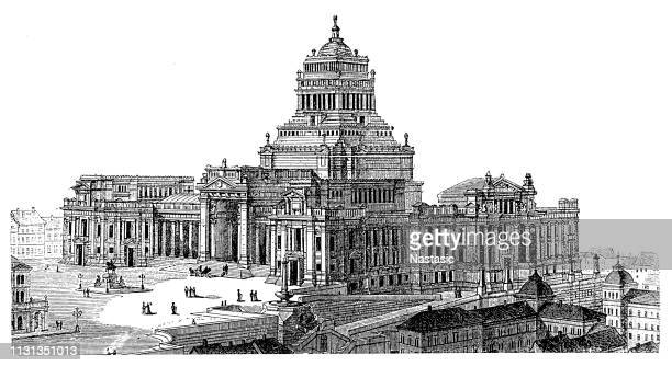 law courts, palais de justice, brussels - palace stock illustrations