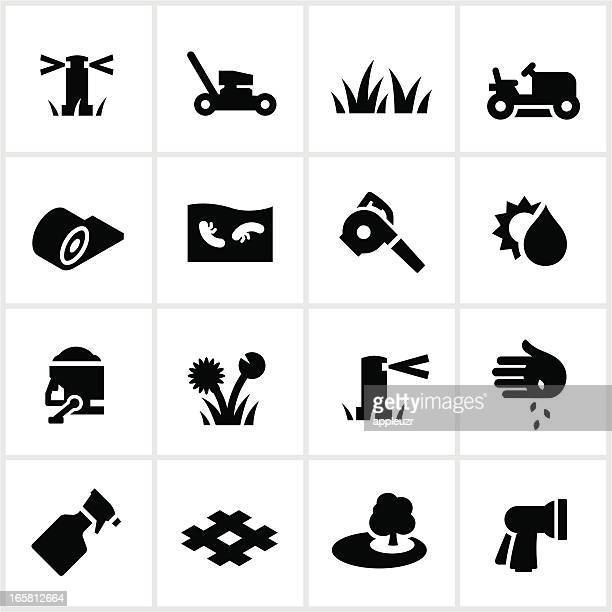 lawn care icons - leaf blower stock illustrations