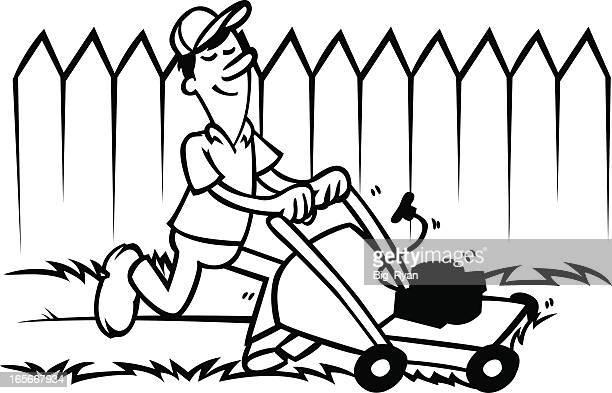 lawn mower - lawn care stock illustrations, clip art, cartoons, & icons