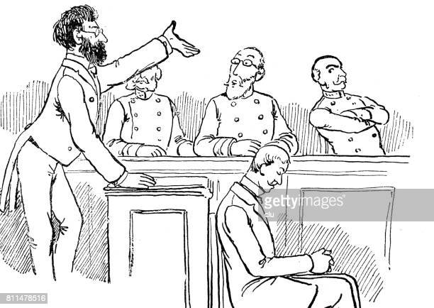 lawyer stands before the judge and talks to him, his client sits aside of him, depressed - judge entertainment stock illustrations
