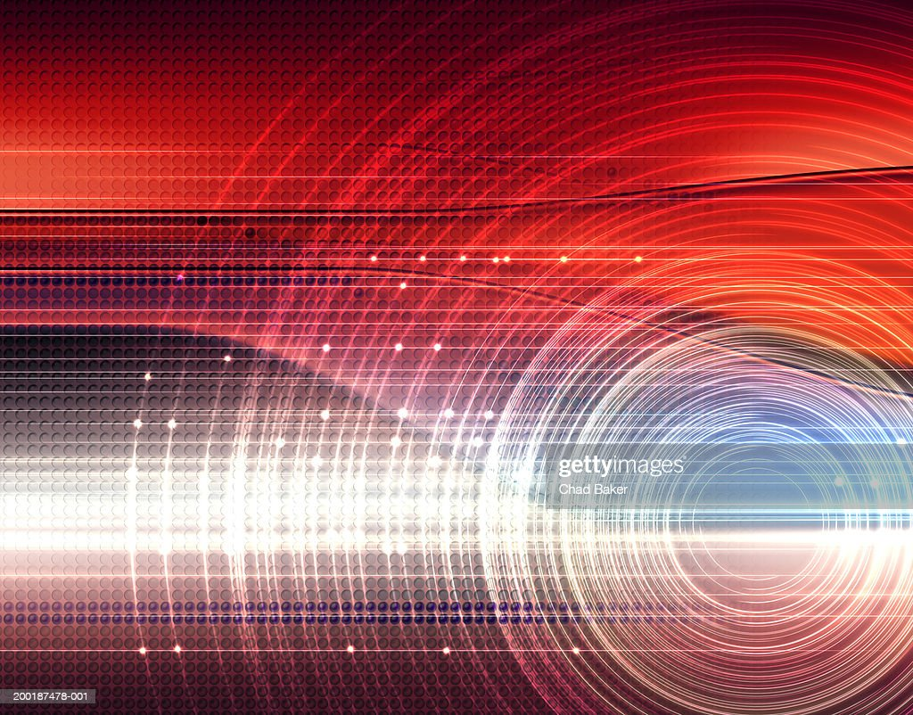 Layered circles against abstract digital background : Illustrazione stock