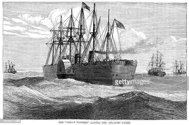 laying the atlantic cable - steel cable stock illustrations