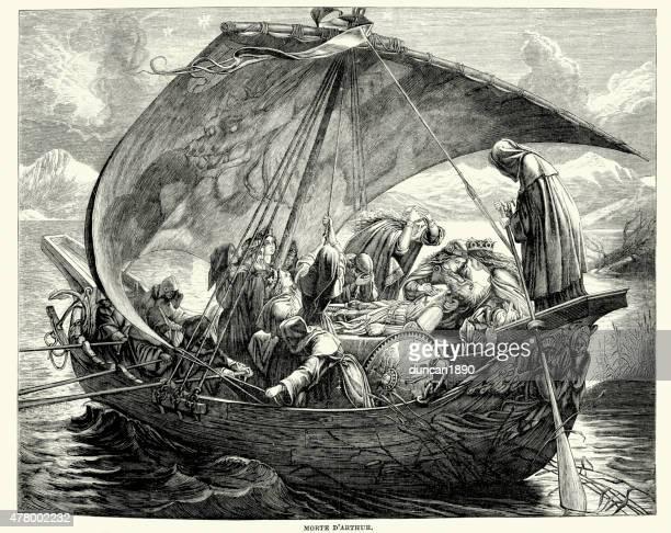 le morte d'arthur - death of king arthur - the avalon hollywood stock illustrations