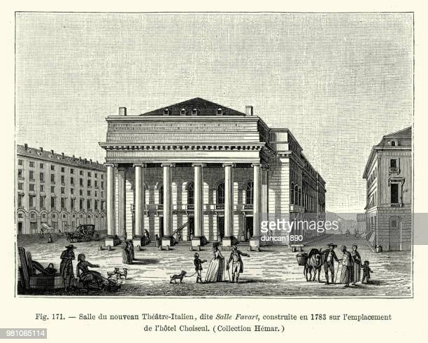 le theatre italien, paris, france, late 18th century - theater industry stock illustrations, clip art, cartoons, & icons
