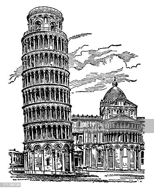 leaning tower in pisa - leaning tower of pisa stock illustrations, clip art, cartoons, & icons