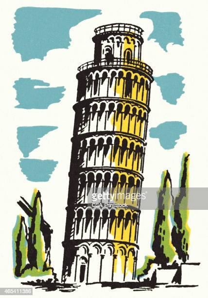 leaning tower of pisa - pisa stock illustrations, clip art, cartoons, & icons