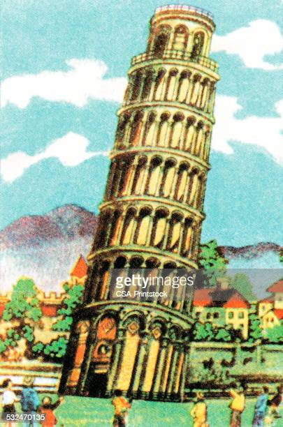 leaning tower of pisa - leaning tower of pisa stock illustrations, clip art, cartoons, & icons