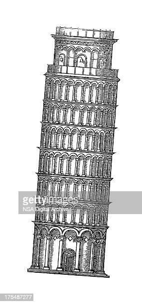 Leaning Tower of Pisa, Italy | Antique Architectural Illustrations