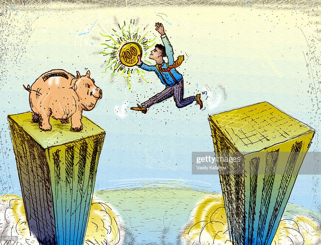 Leaping Buildings to Piggy Bank : Ilustración de stock