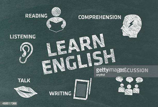 learn english concept with icons on blackboard - english culture stock illustrations